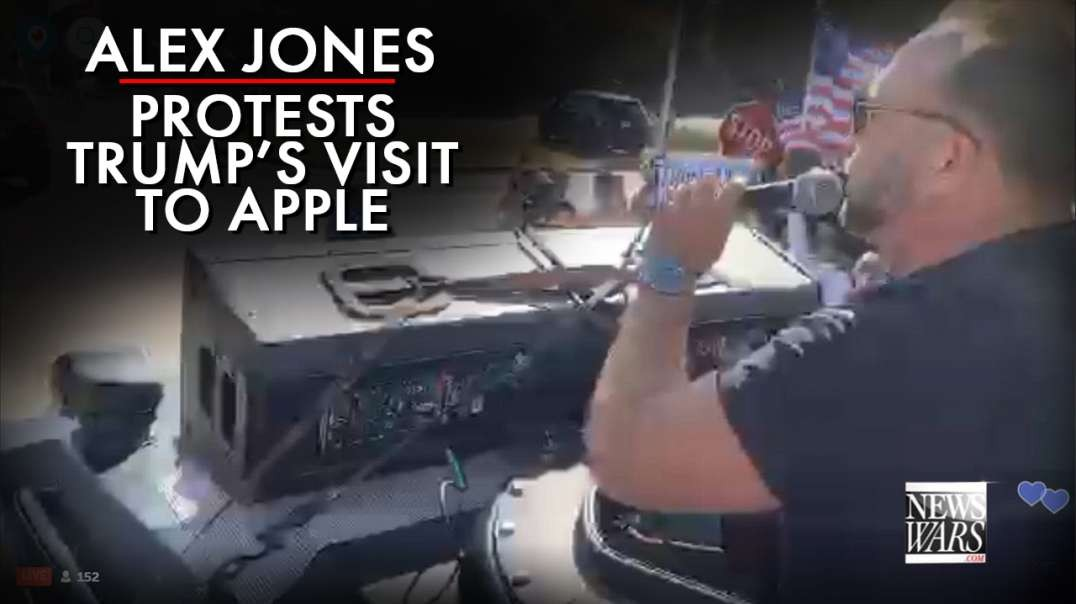 Alex Jones Protests Trump's Visit To Apple