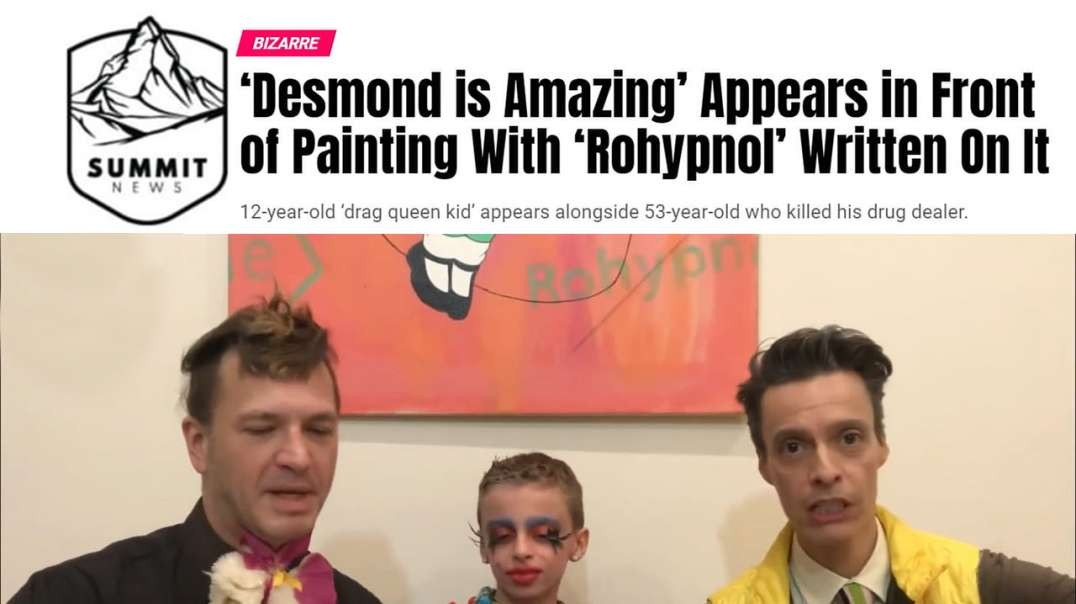 Desmond Is Amazing Appears In Front Of Painting With Rohypnol Written On It