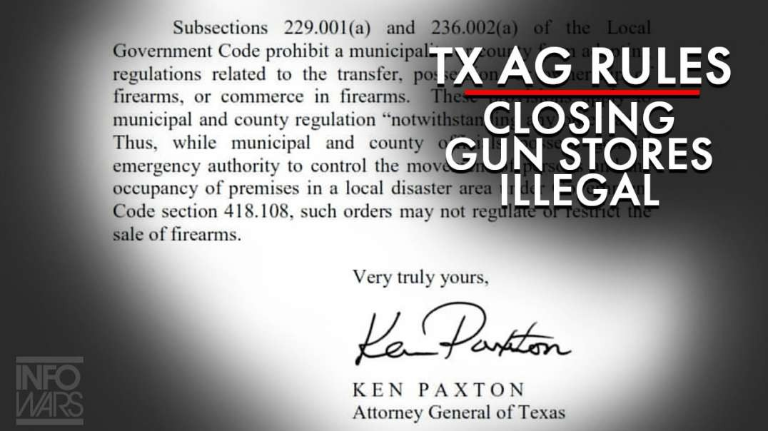 Texas AG Rules Blue Cities Attempting to Close Gun Stores Illegal