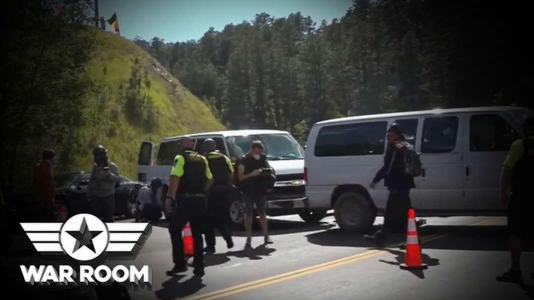 Democrat Riot Mob Blocks Entrance To Mount Rushmore Trump Event
