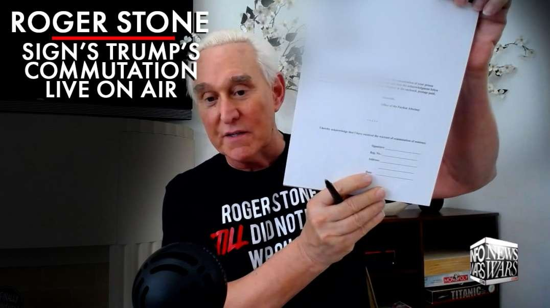 Roger Stone Signs Trump's Commutation Live On Air