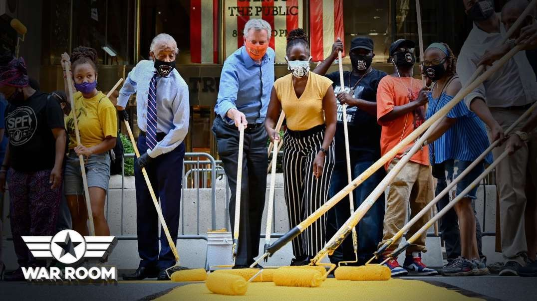 Bill Deblasio Paints BLM In Front Of Trump Tower