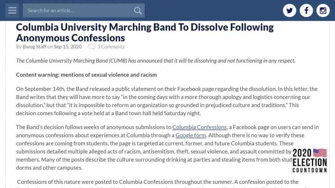 COLUMBIA UNIVERSITY'S 116 YEAR OLD MARCHING BANDS DISBANDS OVER SOCIAL JUSTICE CANCEL CULTURE