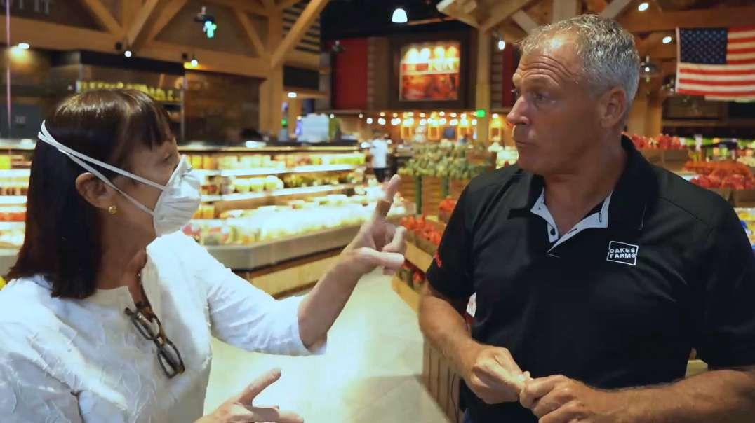 Masked Karen Freaks Out During Grocery Store Interview