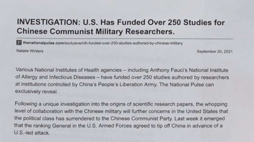 Under Fauci The U.S. Has Funded HUNDREDS Of Chinese Virus Studies Under CCP Military